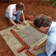 Barbecue in muratura in costruzione