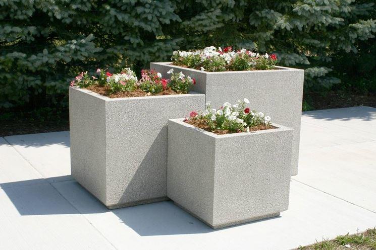 Fioriere in cemento fioriere fioriere in cemento - Maceteros rectangulares grandes ...