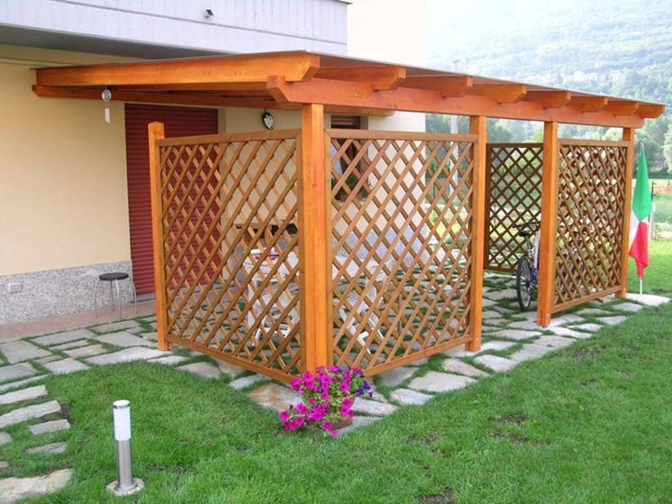 Pensiline pergole tettoie giardino caratteristiche for Arredo giardino dwg