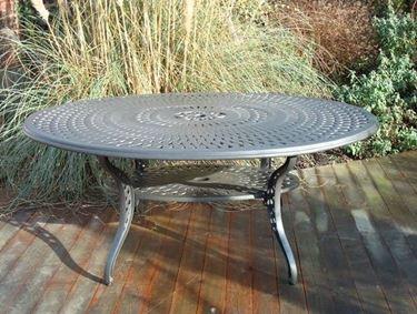 Tavolino ovale da giardino in alluminio