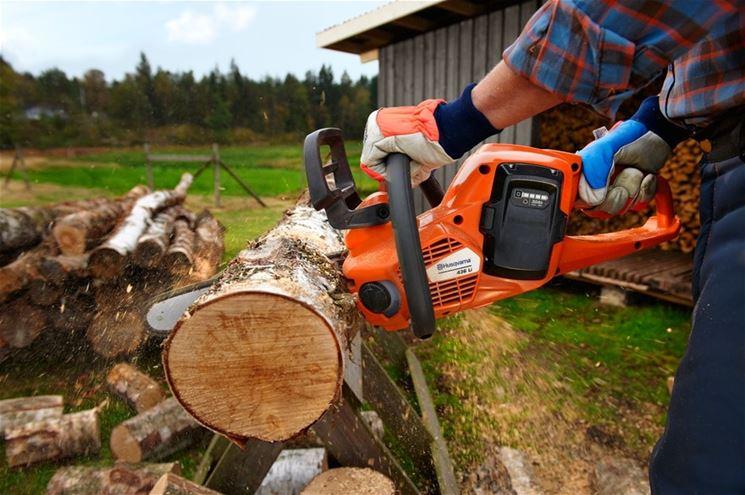 Taglio legna con motosega a batteria