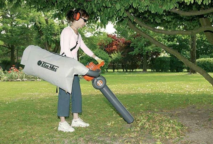 Un aspirafoglie usato da una donna per pulire il proprio giardino