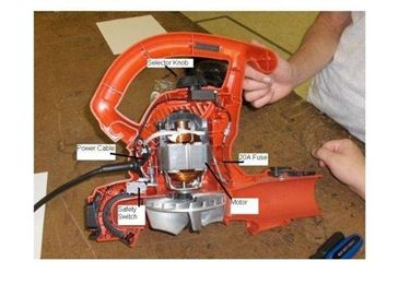 Interno di un soffiatore elettrico e i suoi principali componenti.