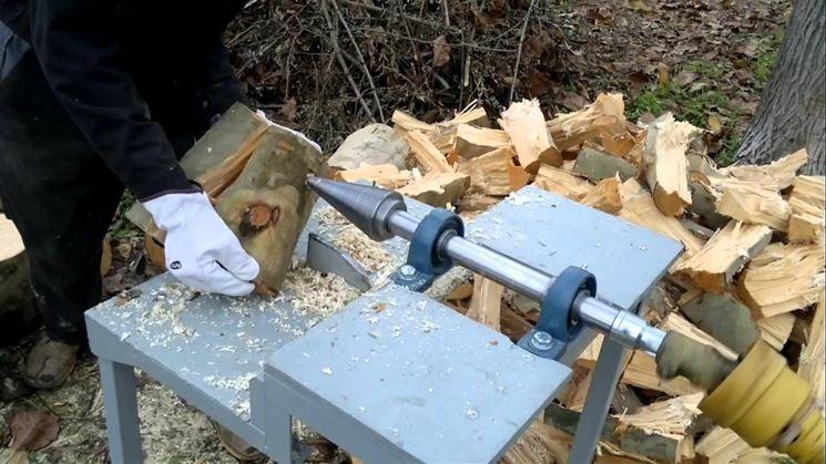 Spaccalegna a vite su escavatore