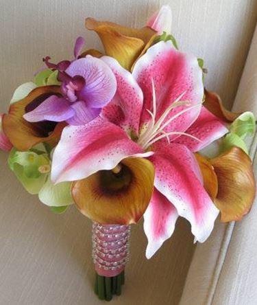 composizione fiori finti