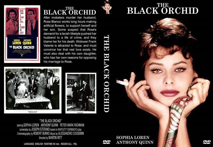 Una giovanissima Sofia Loren nella locandina del film Black Orchid del 1958