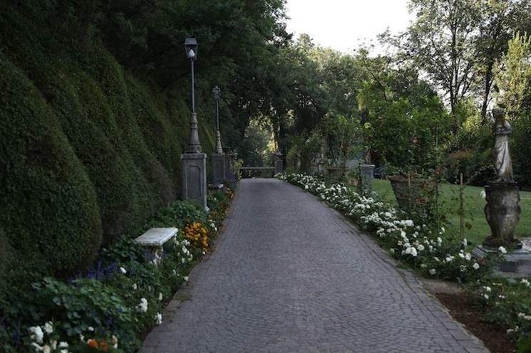 Viale di accesso al giardino del Castello di Torcrescenza