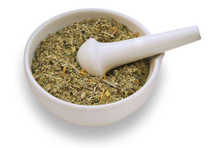 Composto olivo nel mortaio