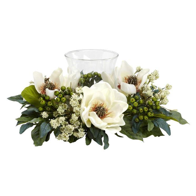 decorazione portacandele fiori finti